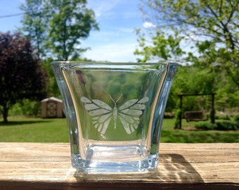 Glass Votive Holder with Hand Etched Butterfly Design