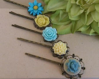 Wedding, Yellow and Blue, Bridesmaid, Bridal, Flower Hair Pins, Azure, Cobalt, Bobby Pins, Set of Five, (5)
