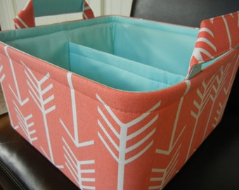 "LG Diaper Caddy(choose COLORS) 10""x10""x6""- One Divider -Baby Gift-Fabric Storage Organizer""Coral Arrow/Aqua Lining"""