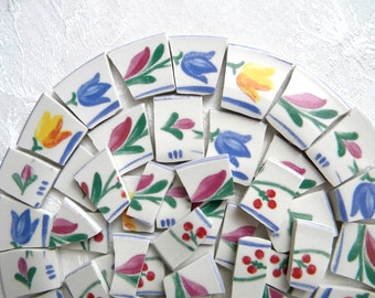 Mosaic Tiles - Broken China - Abstract Floral Tiles - Designer Plates - 50 Tiles