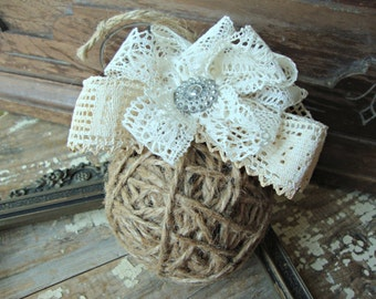 Vintage Lace Tattered Rustic Jute Ball Ornament
