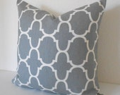 SALE Double sided, Gray moroccan quatrefoil geometric decorative pillow cover,  gray throw pillow