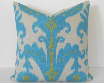 Lime and turquoise ikat decorative pillow cover