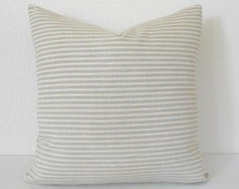 Tan and cream small stripe decorative pillow cover