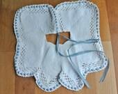 White Cotton Crochet Collar Bib with Blue Ribbon.