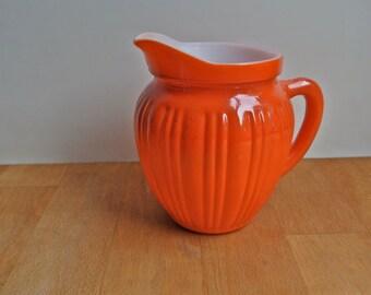 Hazel Atlas Orange Red Milk Glass Creamer