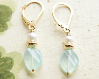 Chalcedony Earrings Aqua Chalcedony Dangle Earrings Gemstone Jewelry Freshwater Pearl 14kt Gold Filled Lever Back Chalcedony Wedding Jewelry