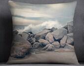 Decorative pillow - pillow case - waves accent pillow case - beach pillow cover - neutral waves beach ocean pillow case - throw pillow