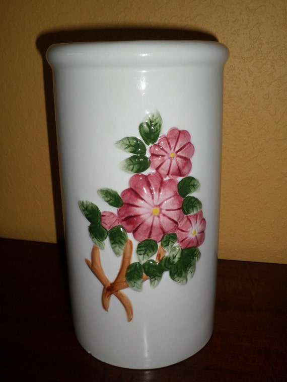 ceramic toilet paper holder white pink floral hand painted vintage