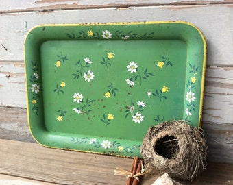Retro Green Floral Tray - Retro Cottage Chic Wall Art + Home Decor, Pretty Wall Art or Home Decor, Shabby Chic, Green Decor, Spring Flowers