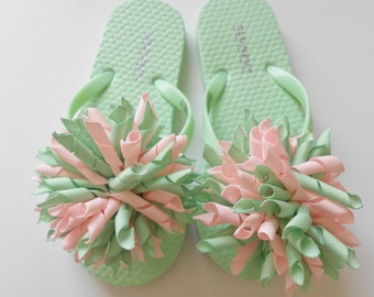 Pink and Mint cheer korker flip flops and matching hair bow