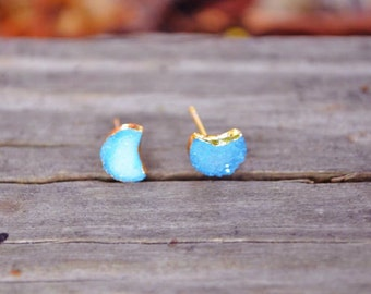 ON SALE!!! Gold Dipped Crescent Moon Druzy Studs