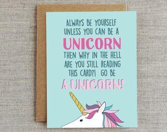 Funny Encouragement Card, Friendship Card, Unicorn Card, Card for Friend, Card for Him, Card for Her, Card for Sister, Card for Girlfriend