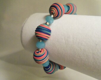 Sale- One of a Kind Women's HandCrafted Pink Turquoise Blue BRIGHT STRIPES & Aqua Crystals Stretch Bracelet- Birthday Gift Her Teen. Jewelry