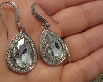 Bridal Earrings, Bridesmaid Earrings, Silver Pear shape Crystal Dangle Bridal Earrings Jewelry