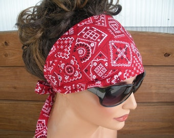Womens Headband Fabric Headband Accessories Women Head Scarf Yoga Headband Summer Headband in Red Bandana print - Choose color