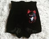 SALE High waist black velvet cat motif shorts