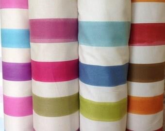 Fryetts bergamo stripe in carnival, spring, ocean or spice by the metre 10% cotton