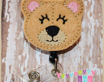 Taylor the Teddy Bear - Tan - Felt Badge Reel - Retractable ID Badge Holder - Embroidered - Alligator or Slide Clip - Name Tag Pull
