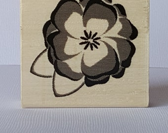 Pixals Flower Wooden Mounted Rubber Stamping Block DIY cards, scrapbooking, tags, Greeting Cards, and Scrapbooking