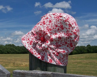 Chemo Hat Cloche Style Cotton Print in Red and White for Women, satin lined, flower accent Ready to Ship
