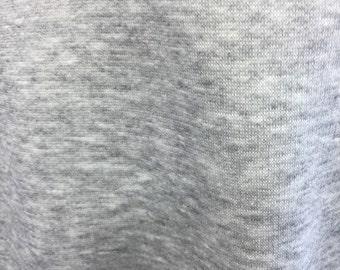 Poly Cotton Sweatshirt Fleece Fabric by the Yard (Heather Grey)