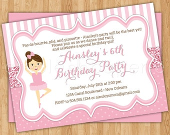 Ballet Digital Birthday Invitation with customizable character