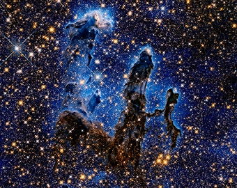 Pillars of Creation are located in the Eagle Nebula - Available Sizes (12x12) (16x16) (20x20) (24x24) (30x30) (36x36)