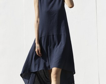 2015 New Lagenlook Ethnic Dress Loose Fitting Dress in Navy Blue - NC574