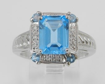 Emerald Cut Blue Topaz and Diamond Halo Promise Ring 10K White Gold Size 7