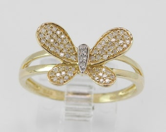 Yellow Gold Womens Ladies Girls Diamond Butterfly Statement Ring Size 7