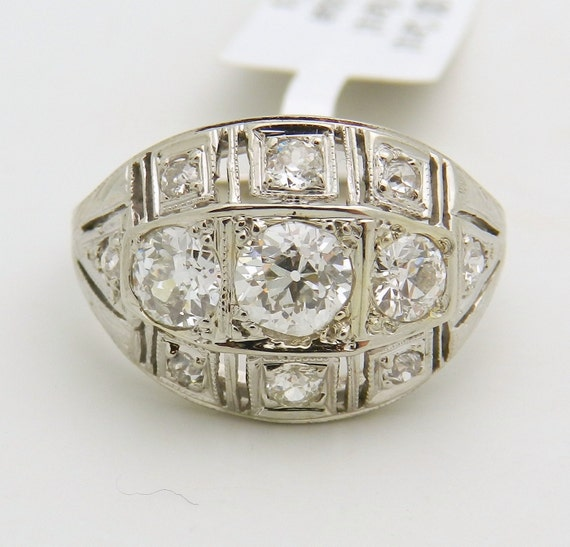 Vintage Antique 1.00 ct Old Miner Diamond Cocktail Ring 18K White Gold Size 6.25