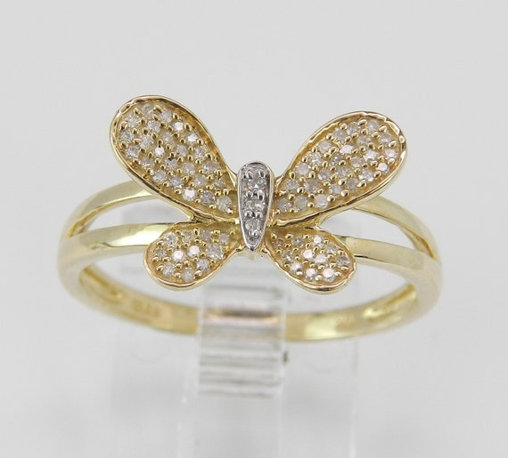 Ladies Girls Diamond Butterfly Cluster Ring Statement Ring Yellow Gold Ring Size 7