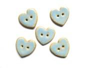 Periwinkle Blue Heart Button Handmade Ceramic Button Stoneware Heart Button X 1