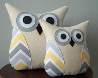 Owl Pillow - Nursery Decor - Grey, Yellow, White Chevron Pattern - Large or Small