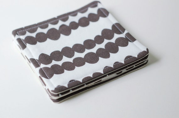 Fabric Coasters Set of 4 / White and Warm Grey / Lotta Jansdotter Fabric