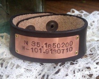 Custom coordinates bracelet, Copper Latiitude Longitude Bracelet, Custom Hand Stamped, Leather bracelet cuff
