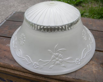 nice vintage antique 30s 40s white embossed floral CEILING LIGHT SHADE