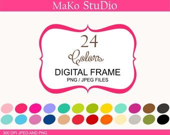 Bracket Digital frames, frame clip art, 24 digital frames clip art, Personal or Commercial Use