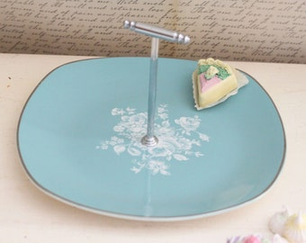Vintage Turquoise & Silver Mid Century Bonbon Serving Dish - Aqua Blue Serving Plate - Made in England