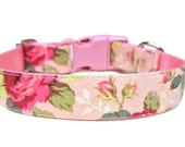 "Pink Dog Collar 1"" Flower Dog Collar"