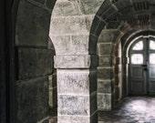 Architecture Art, Castle Photograph, Stone Wall Art, Tunnel Photo, Dark Art, Earth Tones, Grey Home Decor, Brick Red Art, French Door Photo