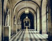 Versailles Photo, Architecture Print, Marble Statue Photo, Symmetry Art, Chandelier Photo, Dark and Moody Art, Window Photograph, Wall Art