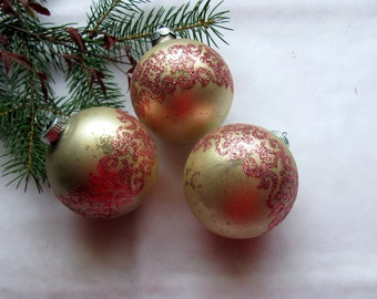 Christmas Ornaments Pink Flocked Glass / Shiny Brite Vintage Pink Glass Ornaments