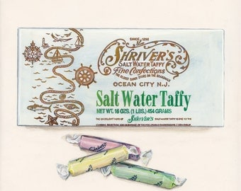 Salt Water Taffy. Original egg tempera illustration from 'The Taste of America' book.