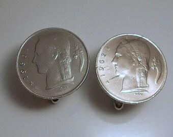 Belgium Vintage Coin Cuff Links  1962 1963