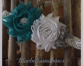 Double Shabby Flower Headband with Sequin Bow-Shabby Chic -  You ChooseColors