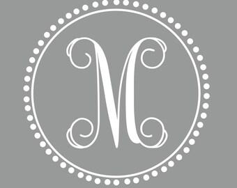 Preppy Monogram | Vine Font | Single Initial Decal | Nursery Decor | Dorm Decor | Sorority Decor