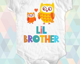 Little BIG Brother SISTER Owls Custom One-piece or Shirt - Text printed on Infant Baby One-piece, Infant Tee, Toddler T-Shirts