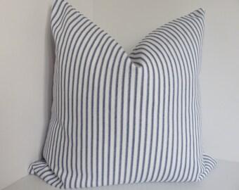 Stripe pillow cover,Blue stripe pillow, Blue pillow, white pillow, Stripe blue and white pillow, Pillow cover